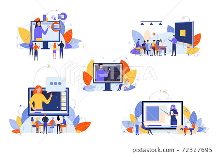 Online education, course, study, seminar, training set concept 72327695