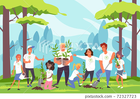 Nature, family, environmental protection, landscaping concept. 72327723