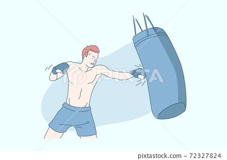 Boxing, sports training, sportsman with boxing bag concept 72327824