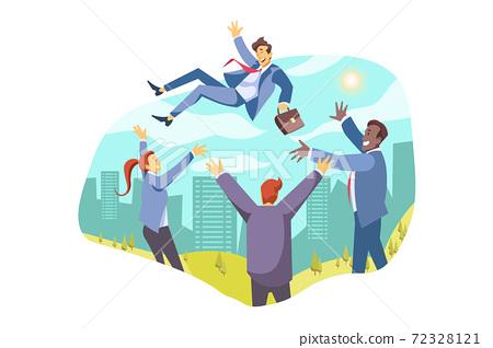 Team, leadership, win, achievement, success, business congratulation concept 72328121