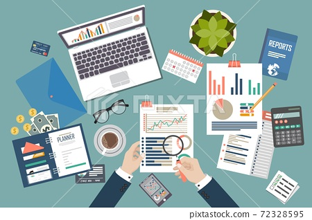 Auditing concept vector illustration. Tax process. Business background. Flat design of analysis, data, accounting, planning, management, research, calculation, reporting, project management. 72328595