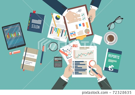 Auditing concept vector illustration. Tax process. Business background. Flat design of analysis, data, accounting, planning, management, research, calculation, reporting, project management. 72328635