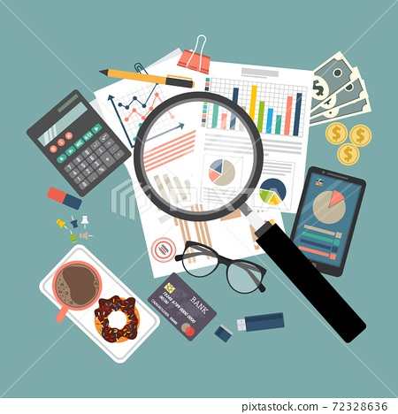 Auditing concept vector illustration. Tax process. Business background. Flat design of analysis, data, accounting, planning, management, research, calculation, reporting, project management. 72328636
