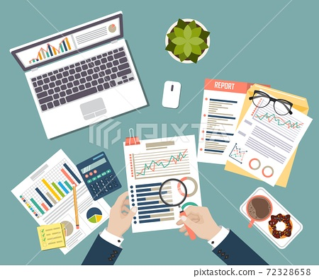 Auditing concept vector illustration. Tax process. Business background. Flat design of analysis, data, accounting, planning, management, research, calculation, reporting, project management. 72328658