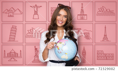 Girl With Globe Choosing Country For Vacation, Pink Background, Collage 72329082