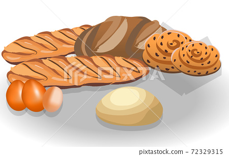 Composition of bread loafs, bagels, eggs and dough 72329315