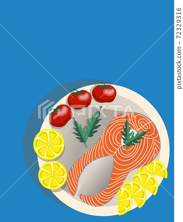 Composition of a plate with a slice of salmon, lemon, whole tomatoes and rucola salad 72329316