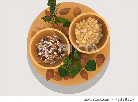 Composition of one plate and two bowls filled with various nuts. Almonds, Walnuts, hazelnutsa 72329317