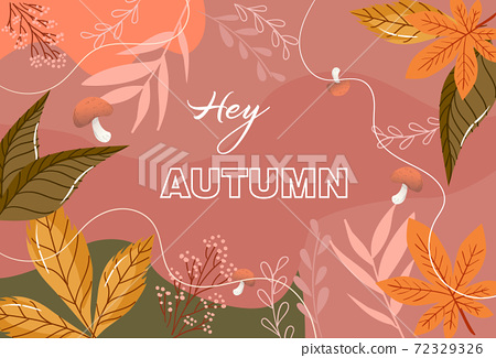 Autumn composition with mushrooms, leaves, twigs, and abstract lines 72329326