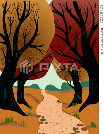 Dirt path through autumn forest with red, yellow and orange leaves 72329328