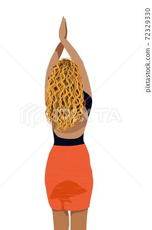 Blonde woman dressed in red skirt and black blouse posing with her hand in the air. View from back 72329330