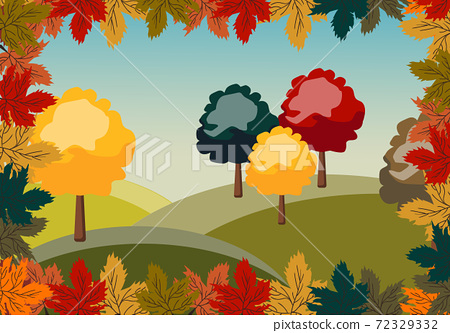 Autumn peisage of red, green and yellow trees surrounded by leaves 72329332
