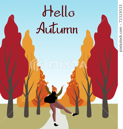 Redhead woman joyfully jumping in the forest. Hello autumn 72329333