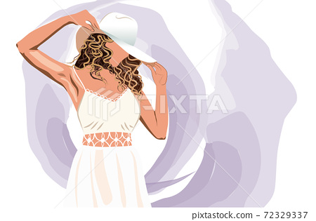 Blonde woman in white dress arranging her sun hat. Abstract purple strokes background 72329337