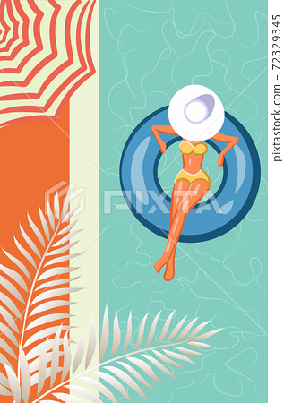 Top view of a woman in yellow swimsuit and sun hat swimming in her pool. Sun umbrella and tropical leaves 72329345