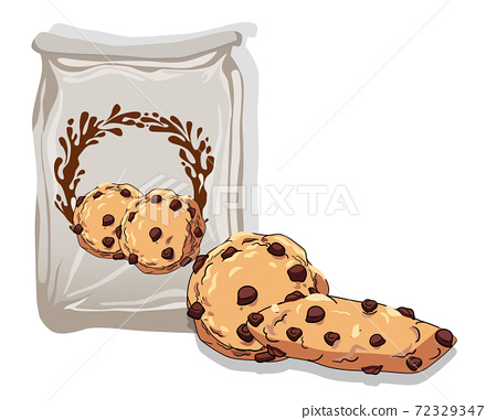 Composition of two chocolate chip cookies near a bag 72329347