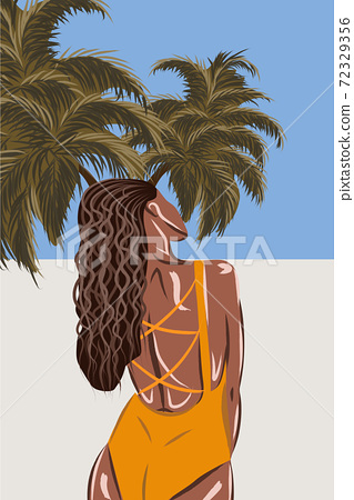 Tanned brunette in orange swimsuit on tropical beach. View from the back 72329356