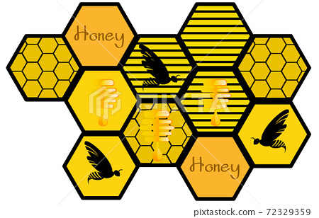 Composition of various honeycombs with dripping honey and bees in them 72329359