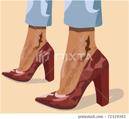 Two tanned women legs in red high heels and light blue pants 72329362