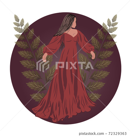 Brunette in red dress with two twigs and a burgundy circle behind her 72329363