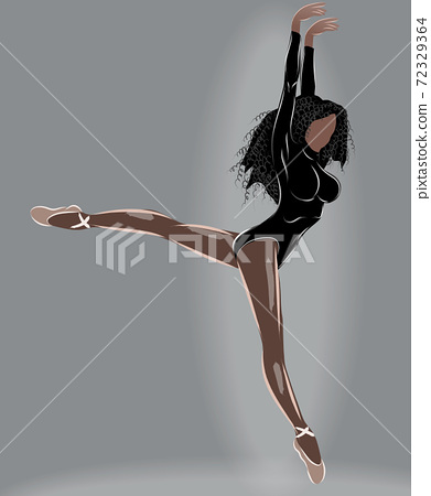 Black haired tanned ballerina in leotard and beige ballet slippers doing a split mid air 72329364