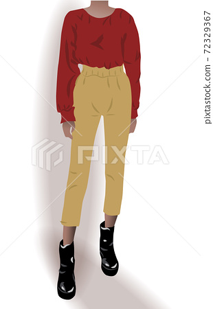 Girl dressed in black shoes, yellow pants and red blouse posing 72329367