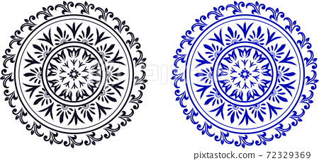 Set of abstract ornate circles in classic ethnic style 72329369