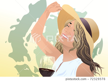 Joyful blonde woman in sunhat and white blouse with a glass of wine in her hand. Green abstract strokes 72329378