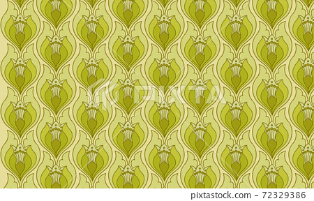 Green vintage wallpaper with abstract flowers pattern 72329386