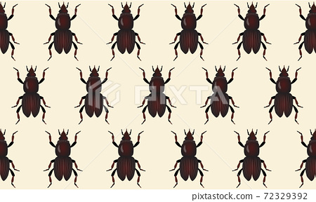 Abstract pattern of May beetles on beige background 72329392