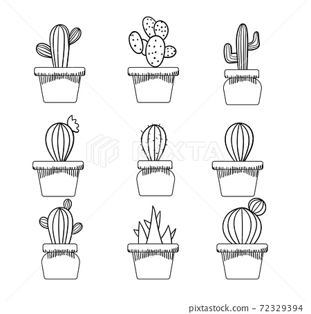 Set of various cactuses in a pot. Monochrome line art 72329394