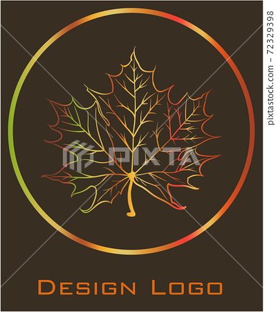 Logo design of a maple leaf inside a circle. Reflective golden color 72329398