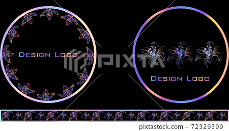 Set of round floristical design logos. Reflective colors 72329399
