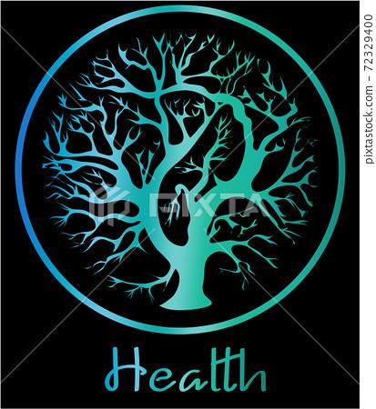 Logo design of a tree inside a circle. Reflective blue color 72329400