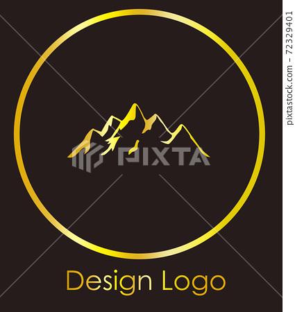 Logo design of a mountain inside a circle. Reflective golden color 72329401