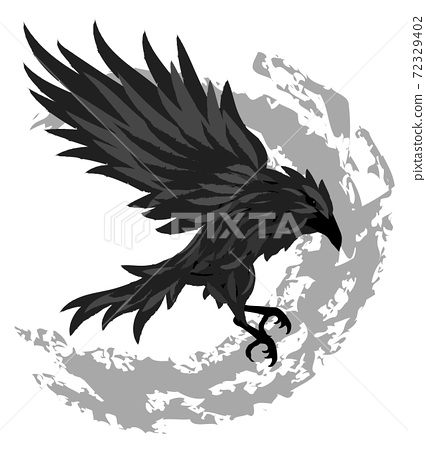 Flying black raven with gray brush strokes in background 72329402