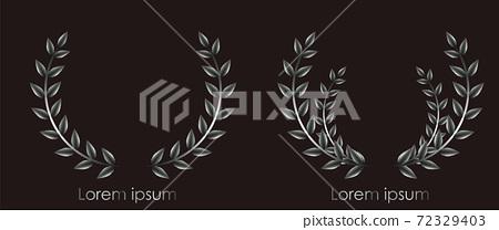 Laurel wreath logo design. Reflective silver color. Place for text. Vector 72329403