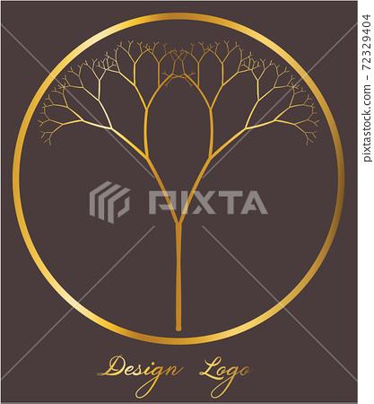 Logo design of a tree inside a circle. Reflective golden color 72329404