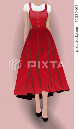 Woman in red dress, black high heels and white blouse underneath 72329405