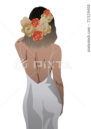 Back view of a woman in white dress and flowers braided in her hair 72329408