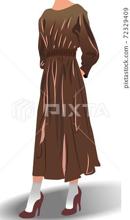 Female model dressed in brown dress, high heels and white socks posing 72329409