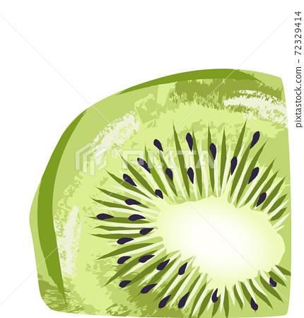 Pastel colored slice of kiwi fruit. Hand drawn art 72329414