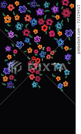 Pattern of multiple bright colored flowers on black background 72329415