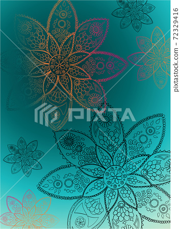 Abstract pattern composed of indian art style flowers 72329416