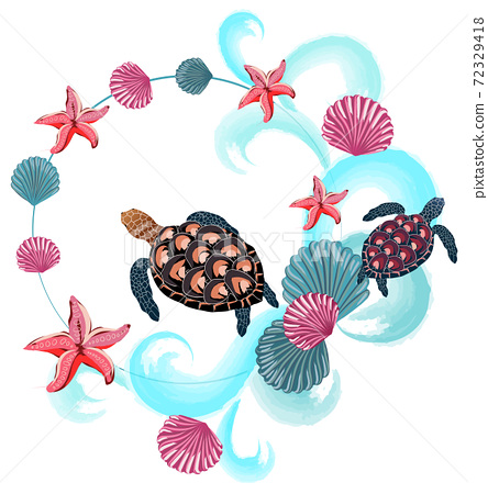 Abstract composition of sea turtles, shells, starfishes and waves 72329418