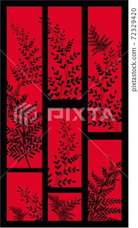 Abstract black and red card with multiple different twigs 72329420