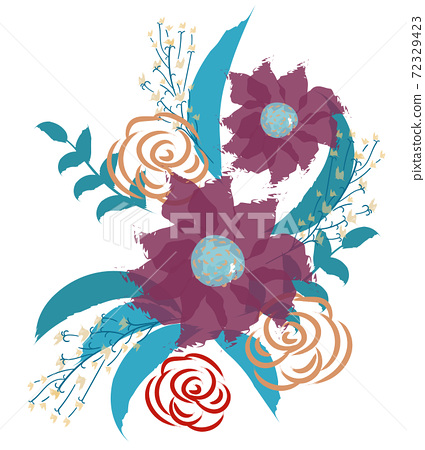 Composition of abstract wild flowers, leaves and twigs 72329423