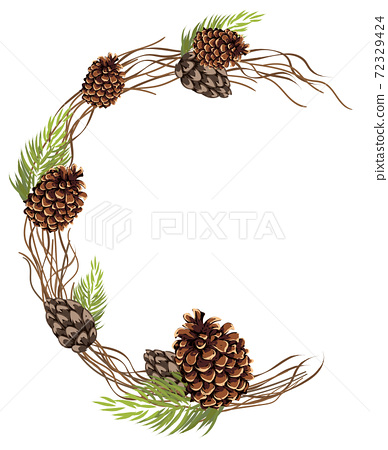 Abstract composition of a semicircle made of pine cones, leaves and twigs 72329424