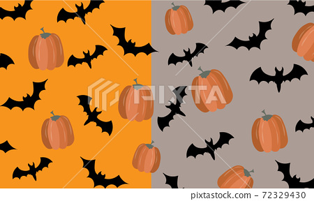Halloween pattern with bats and pumpkins on two tone background 72329430