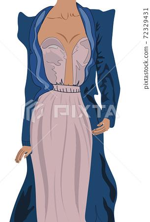 Woman dressed in elegant powder color dress and a dark blue coat 72329431